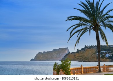 Ifach Penon view from Moraira beach sunset in Alicante of Spain