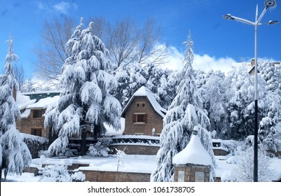 Ifran city, Morocco, January 7th 2018, A wooden house surrounded by snow-covered cedar trees at the northern entrance to the city at the height of the frost that swept the country in the winter