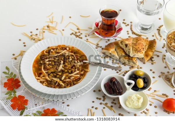Iftar Mealtime Break Fastwith Lentil Soupteasweet Stock Photo (Edit