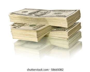ig pile of money. dollars over white background