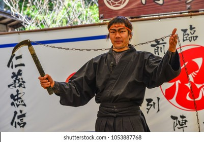 Iga City, Japan - Mar 17, 2018. A man wearing Ninja costume and teaching at the Ninja School in Iga City, Japan.