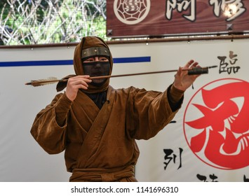 Iga City, Japan - Mar 17, 2018. A man wearing Ninja costume and teaching at the Ninja School in Iga City, Japan.