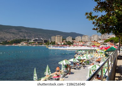 Igalo, Montenegro, August 1, 2018: Health resort, known since the Middle Ages. The resort is located 7 km from the city of Herceg Novi, and if you want, you can walk on foot along the waterfront.