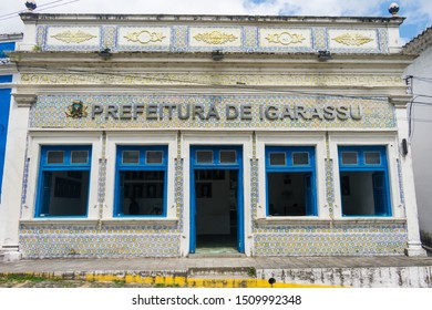 Igarassu, Brazil - Circa August 2019: Historic building now being used as the town hall in the historic center of Igarassu