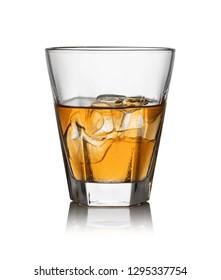 iGlass of whisky and ice isolated white background