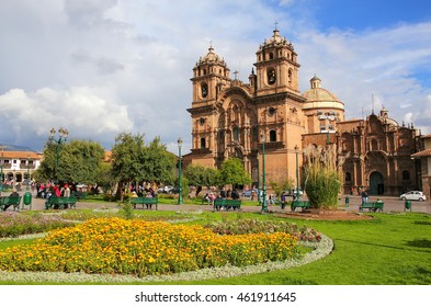 Iglesia de la Compania de Jesus on Plaza de Armas in Cusco, Peru. In 1983 Cusco was declared a World Heritage Site by UNESCO