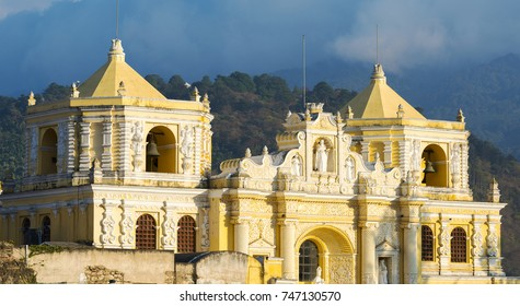 Iglesia de La Merced the baroque yellow church in Antigua, Guatemala, Central America