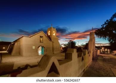 Iglesia de San Pedro de Atacama, San Pedro church, long exposure, night view, Chile