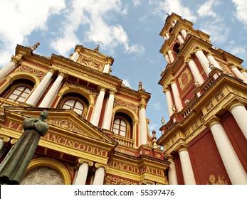 Iglesia San Francisco under blue sky, Salta, Argentina