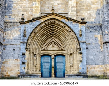 The Iglesia Santa Maria church in Gernika, a historic town in the province of Biscay (Bizkaya), Basque Country, Spain. porch facade detail