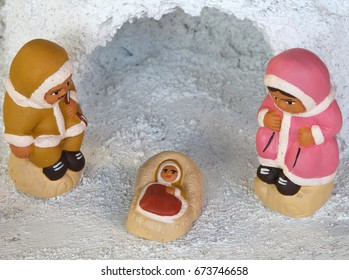 Igloo and Icelandic crib figurines of the Holy Family set at the North Pole