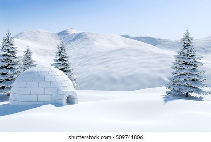 Igloo in snowfield with snowy mountain and pine tree covered with snow, Arctic landscape scene, 3D rendering