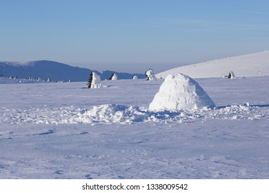 Igloo in a white winter landscape