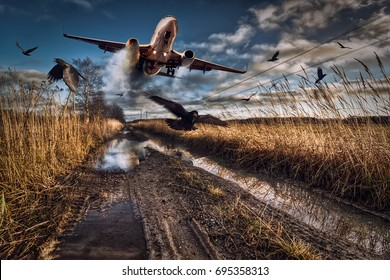 Ignition of the aircraft engine forces the pilot to land the aircraft on a country road. Title - Emergency landing