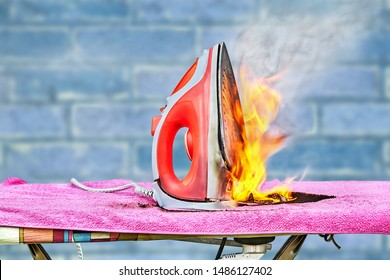 An ignition of an ironing electric iron occurred in the house, when the appliance was left connected to the household power supply for a long time, the clothes iron caught fire and a fire started.