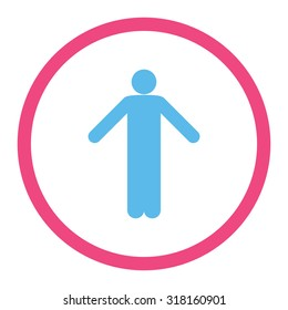 Ignorance glyph icon. This rounded flat symbol is drawn with pink and blue colors on a white background.