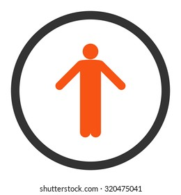 Ignorance glyph icon. This rounded flat symbol is drawn with orange and gray colors on a white background.