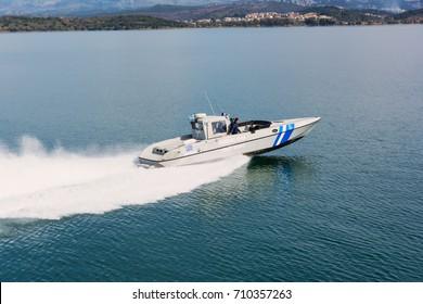 IGOUMENITSA, GREECE - MARCH 3, 2017: A Greek coast guard ship on patrol near Igoumenitsa port.