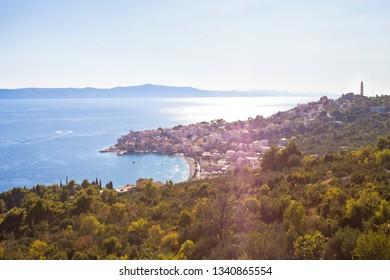 Igrane, Dalmatia, Croatia, Europe - Overview across the beautiful bay of Igrane