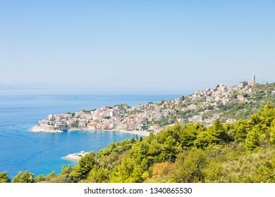 Igrane, Dalmatia, Croatia, Europe - Skyline of the beautiful costal town Igrane