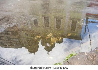 Igreja de Nossa Senhora do Rosario reflecting on a water puddle in the historic center of Recife, capital of Pernambuco, Brazil