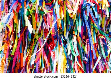 Igreja de Nosso Senhor do Bonfim, a catholic church located in Salvador, Bahia in Brazil. Famous touristic place where people make wishes while tie the ribbons in front of the church. 02/10/2019