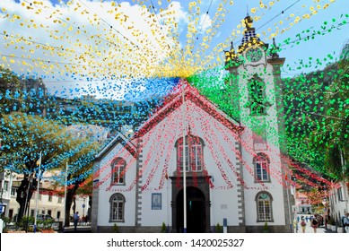 Igreja de Sao Bento church in Ribeira Brava, Madeira, Portugal is decorated with flowers looking like a flower explosion. This church is near the sea on this small island.