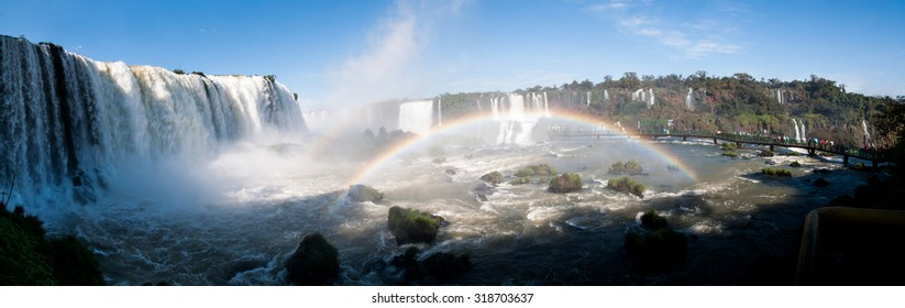 Iguacu (Iguazu) water falls on a border of Brazil and Argentina