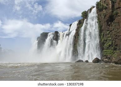 Iguassu falls (Iguazu/Iguacu) on the Parana river, Misiones, Argentina's border with Brazil.