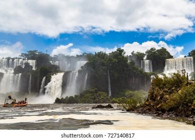 Iguazu Falls, between Argentina and Brazil.