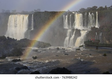 IGUAZU FALLS, BRAZIL, AUGUST 30, 2014. A viewing platform in the river offers fantastic views of both the Brazilian and Argentine falls and Devil's Throat, often with rainbows.
