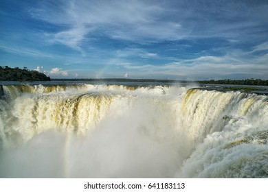 Iguazu falls at Devil's Throat , 7 wonder of the world in  Argentina