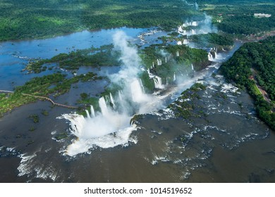 Iguazu Falls (Iguacu Falls) on the border of Argentina and Brazil, aerial view.