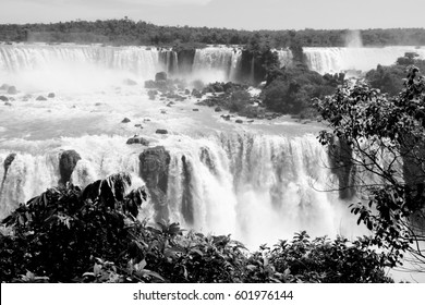 Iguazu Falls landscape. Black and white style.