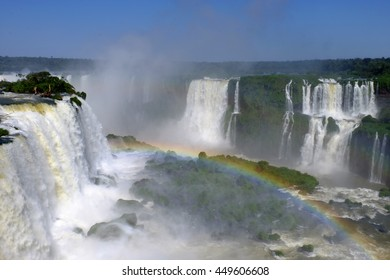 Iguazu Falls, the largest series of waterfalls of the world, located at the Brazilian and Argentinian border, View from Brazil