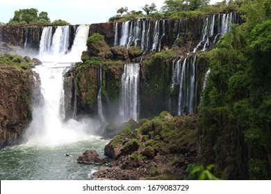 Iguazu Falls in March 2020 one of the seven natural wonders of the world. Misiones, Argentina.