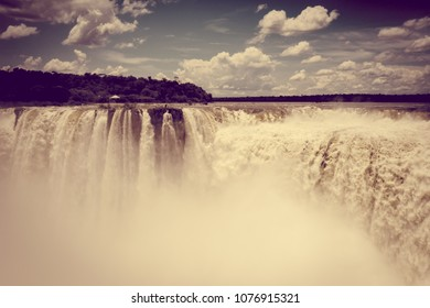 iguazu falls national park. tropical waterfalls and rainforest landscape. Vintage effect