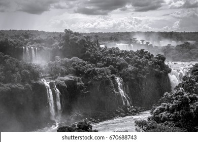 iguazu falls national park. tropical waterfalls and rainforest landscape. Black and white