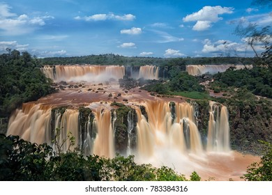 The Iguazu Falls on the Argentine side. Photographed from the Brazilian side. Long Exposure.