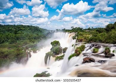 Iguazu Falls on the border of Argentina and Brazil.