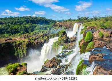 Iguazu Falls, on the border of Argentina, Brazil, and Paraguay.
