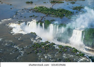 Iguazu Falls on the border of Brazil and Argentina, aerial view.