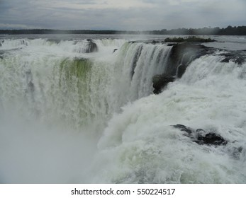 Iguazu Falls, one of the new seven wonders of the natural world, on the border with Brazil and Argentina.