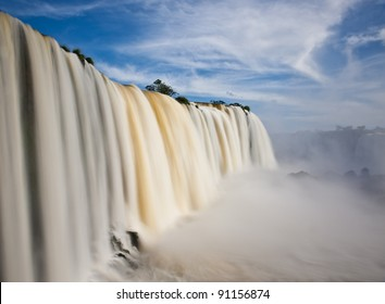 Iguazu falls, one of the new seven wonders of nature. UNESCO World Heritage site. View from the brazilian side.