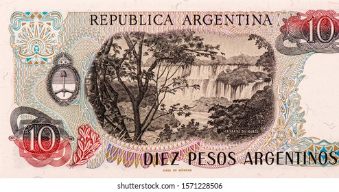 Iguazu Falls Portrait from Argentina 10 Pesos 1983-84 Banknotes. An Old paper banknote, vintage retro. Famous ancient Banknotes. Collection.