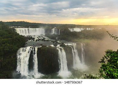 Iguazu Falls in South America during sunset (brasilian side)