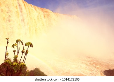 Iguazu Falls - spectacular waterfalls on Brazil and Argentina border. National park and UNESCO World Heritage Site. Garganta del Diablo seen from Brazilian side.