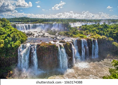 Iguazu Falls - waterfalls of the Iguazu River on the border of the Argentine and Brazil. Widest falls in the world