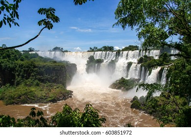 Iguazu Falls are waterfalls of the Iguazu River on the border between Brazil and Argentina
