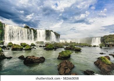 Iguazu National Park, BRAZIL - May 15, 2014; View of Iguazu Falls and the Devil's Throat Falls, Iguazu National Park, Brazil on May 15, 2014